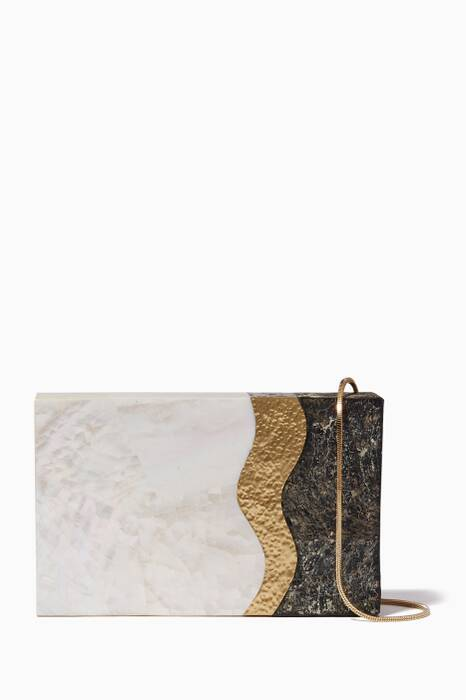 White & Black Shell Eden Clutch