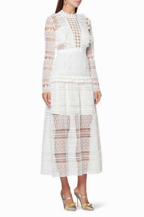 Ivory Spiral Lace Panelled Dress