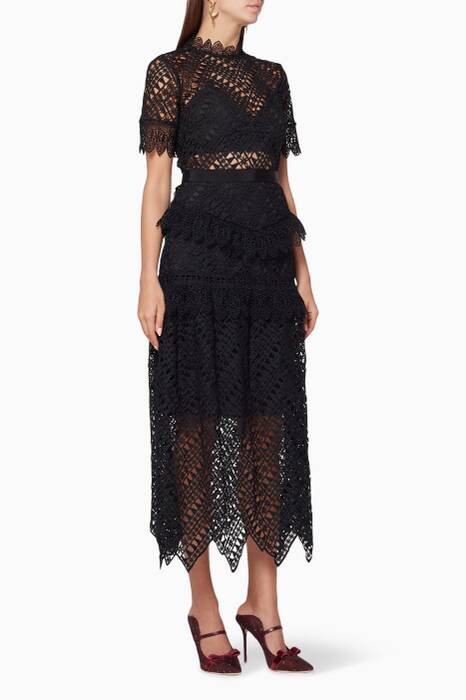 Black Abstract Triangle Lace Midi Dress