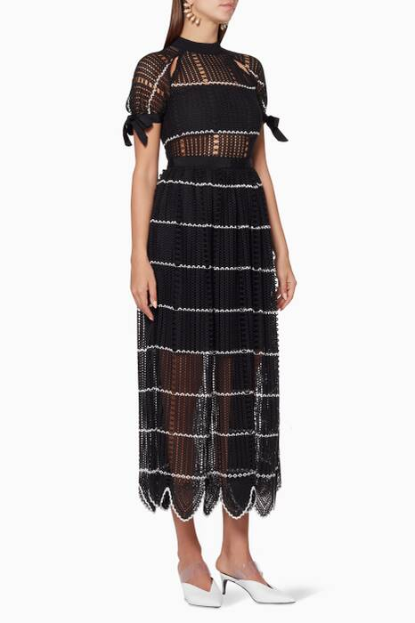 Black Crochet Scallop Midi Dress