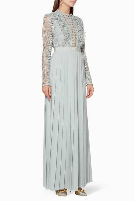 Grey-Blue Spiral Lace Maxi Dress