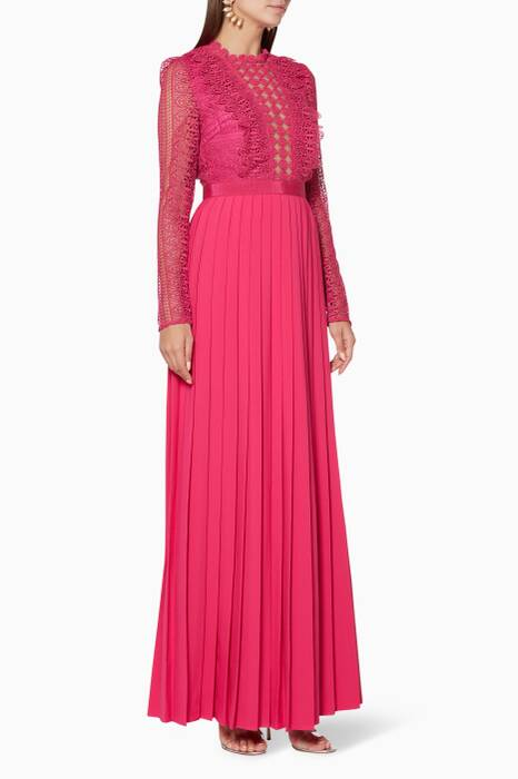 Fuchsia Spiral-Lace Maxi Dress