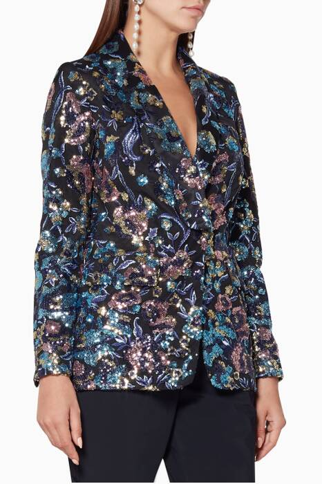 Navy Floral Sequin-Embellished Jacket