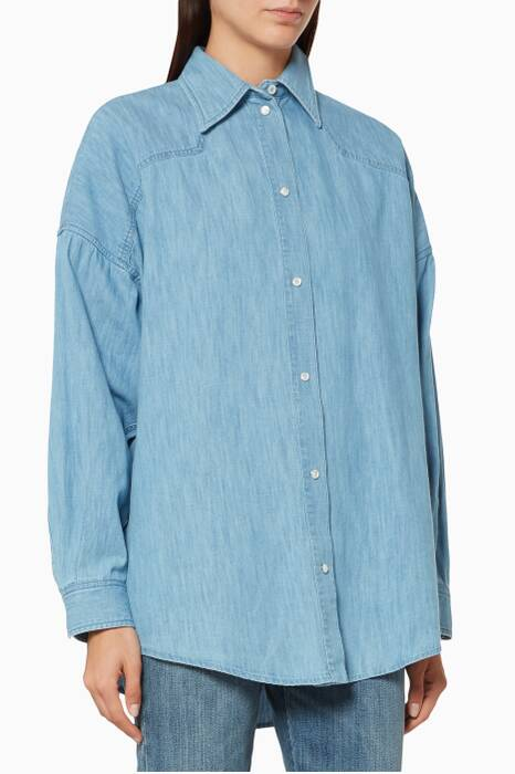 Blue Oversize Embroidered Shirt