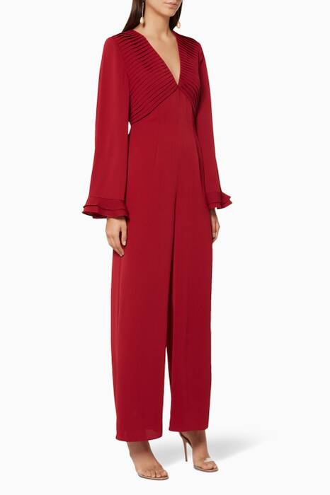 Berry-Red Visceral Wide-Leg Jumpsuit
