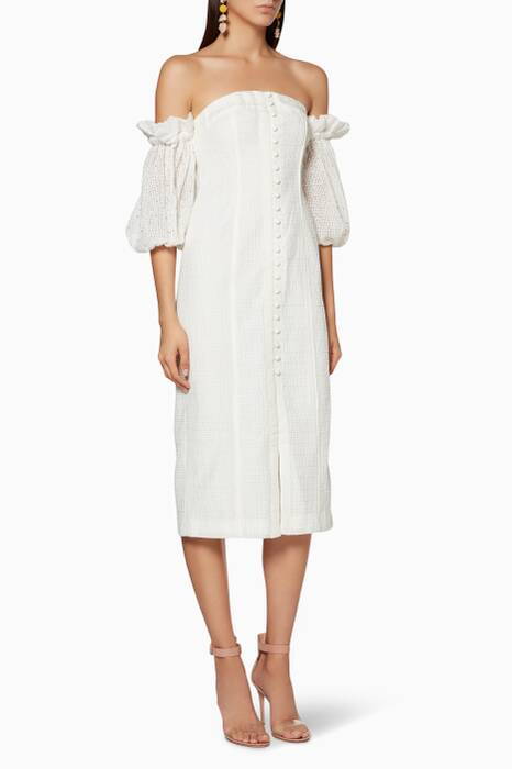 Ivory Think About Me Midi Dress
