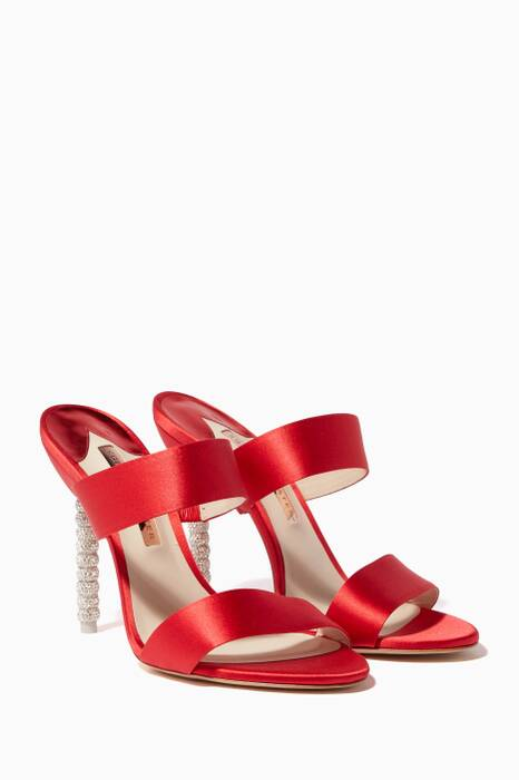 Red Rosalind Crystal Satin Mules