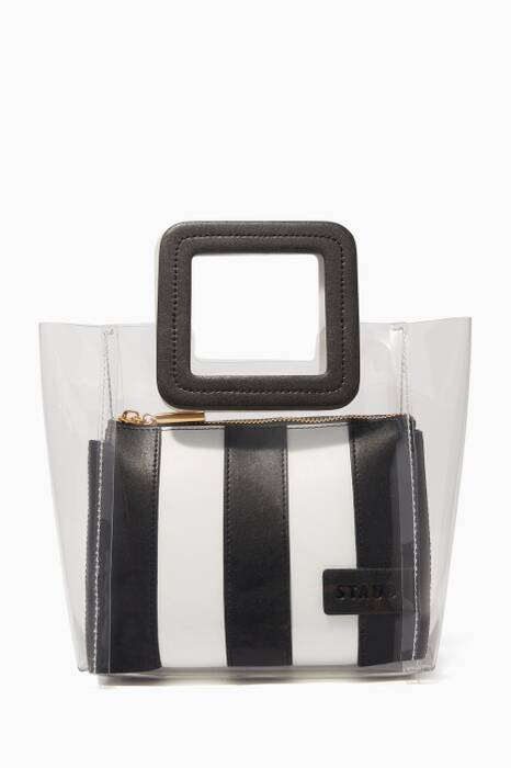 Black & White Striped Mini Shirley Tote Bag