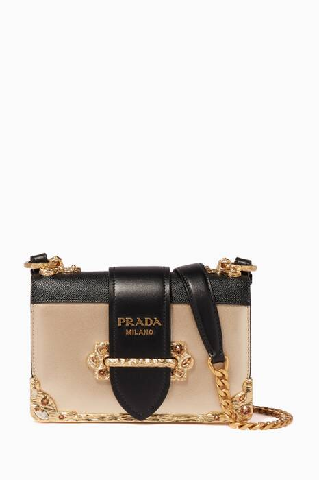 Gold & Black Cahier Leather Shoulder Bag