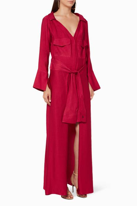 Raspberry Overtune Shirt Dress