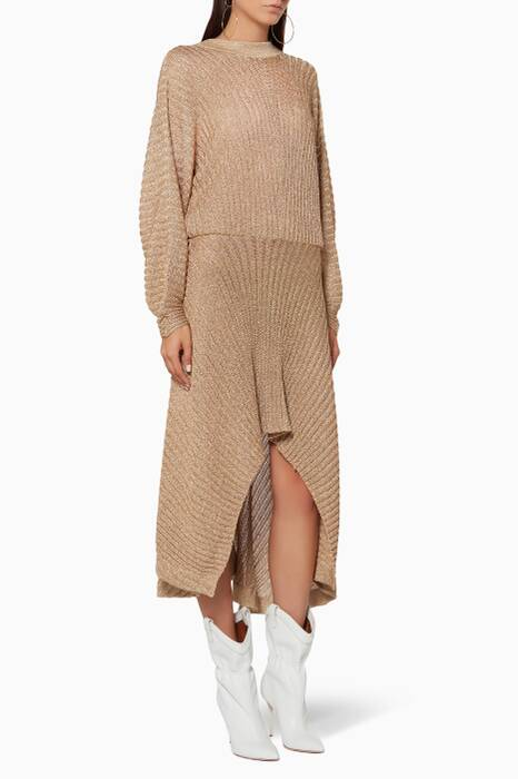 Golden-Ochre Asymmetrical Knit Dress