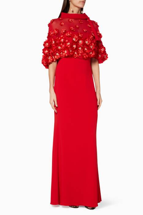 Red Floral-Embellished Pop-Over Gown