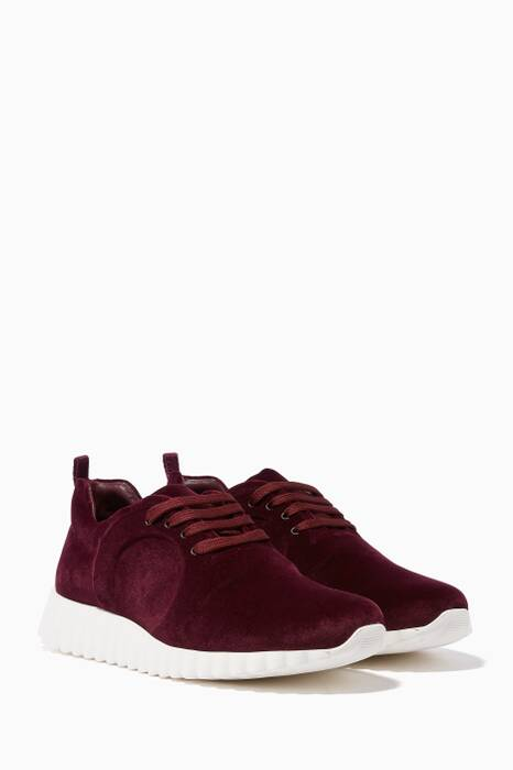 Burgundy Wave Sole Sneakers