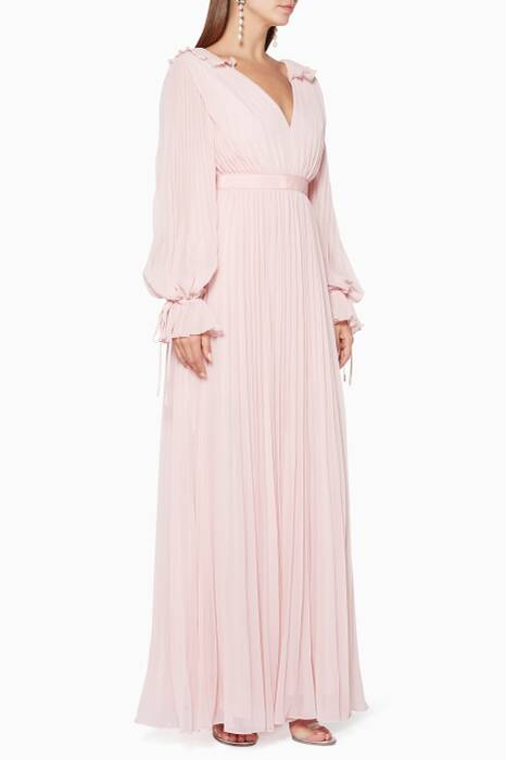 Light-Pink Pleated Chiffon Dress