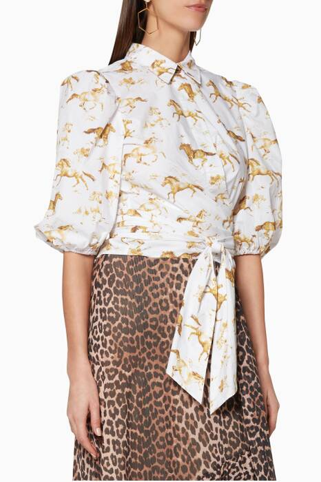 White Printed Weston Wrap Shirt