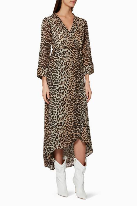 Leopard-Print Mullin Wrap Dress