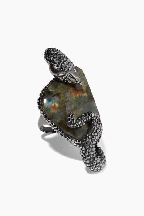 Green Labradorite And Marcasite Ring