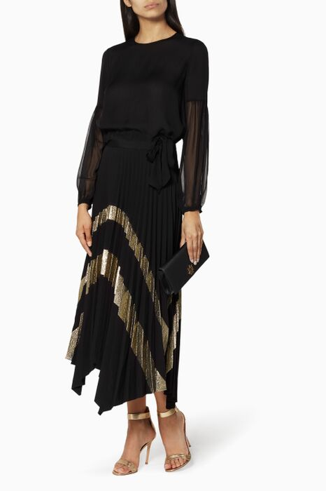 Black Pleated Palma Skirt