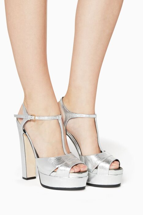 Metallic Edwidge Platform Sandals
