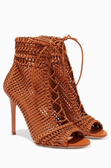 Brown Woven Booties