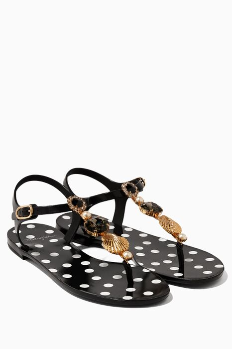 Black Embellished Flat Sandals