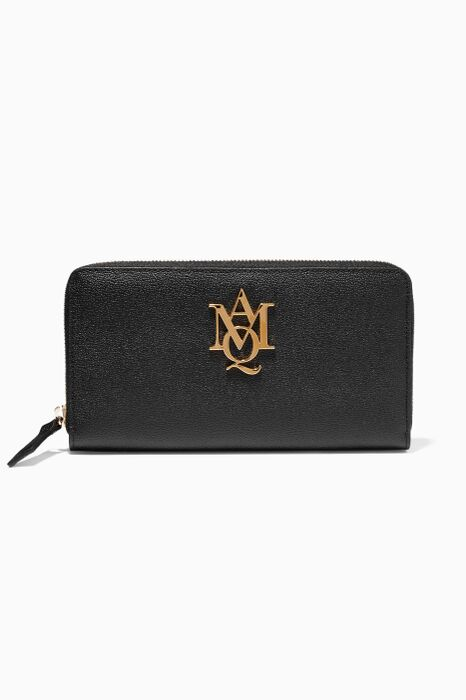 Black Insignia Continental Zip Around Wallet