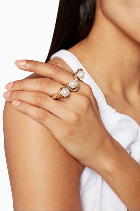 Gold Pave Wave Pearl Double Ring
