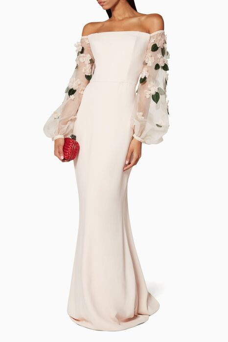 Pink Appliqué Sleeve Gown