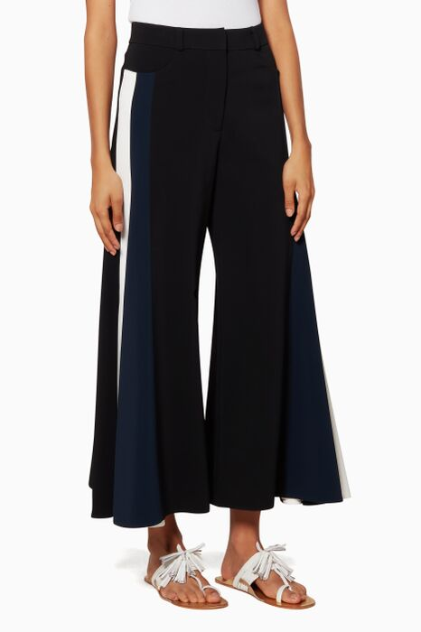 Black Cady Contrast Trousers