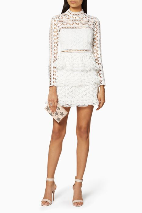 White High Neck Star Lace Paneled Dress