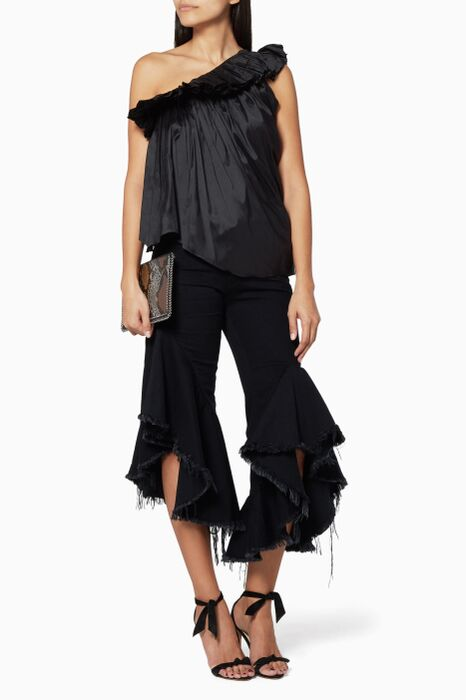 Black Ruffled Jeans