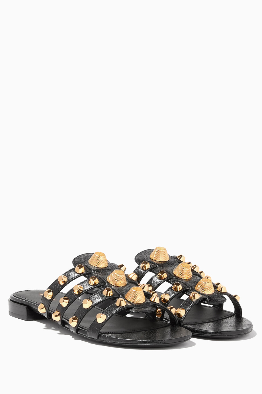 Giant Studded Sandals Black Flat For Balenciaga Shop Arena thQBCrdxs