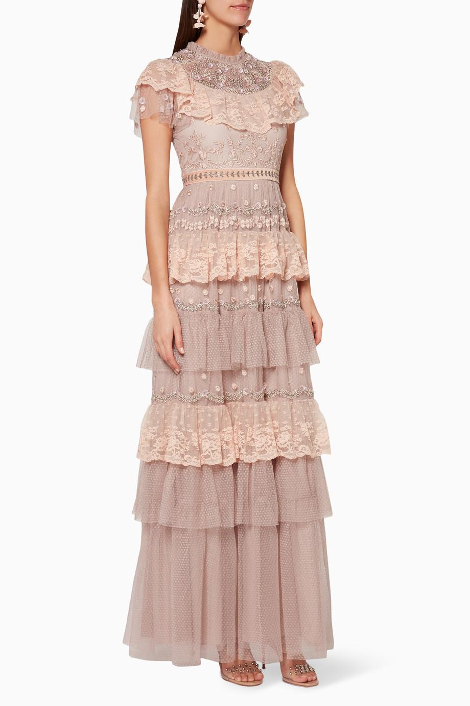 Dusk For Needleamp; Rose Cinderella Shop Pink Embellished Thread Gown CrdxQoBeW