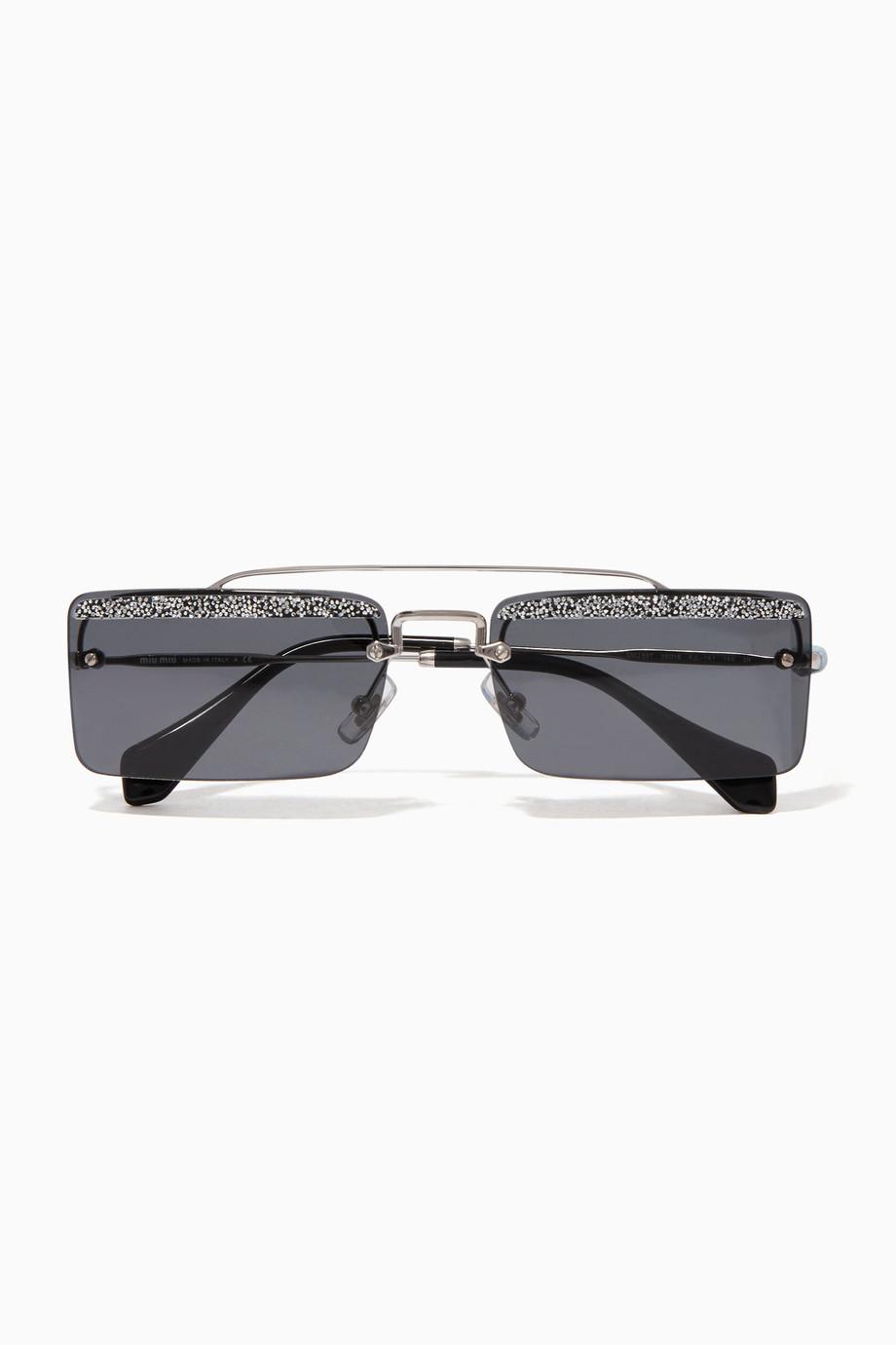 Embellished Miu Black Crystal Sunglasses Société For Shop doBeCx
