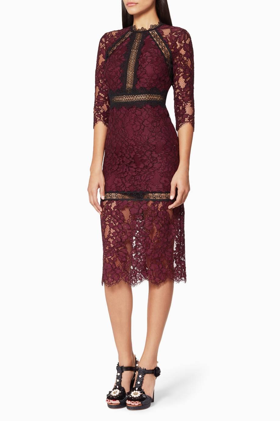 Shop Luxury Alexis Burgandy Marissa Lace Dress | Ounass UAE