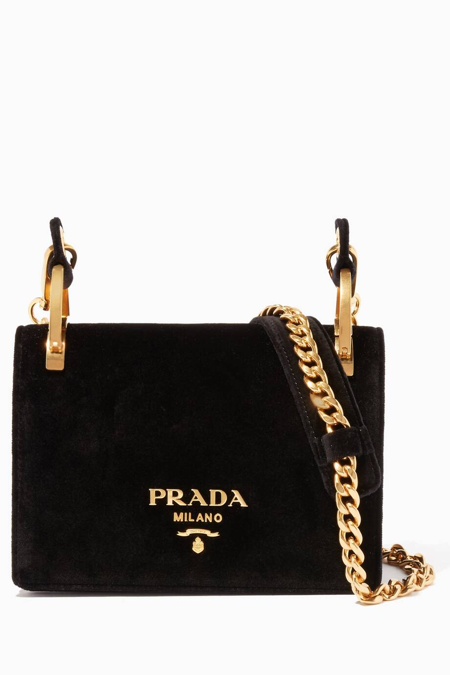 345fd1f0a6a5 ... switzerland shop luxury prada black velvet cross body bag ounass uae  f2c83 fa8ec