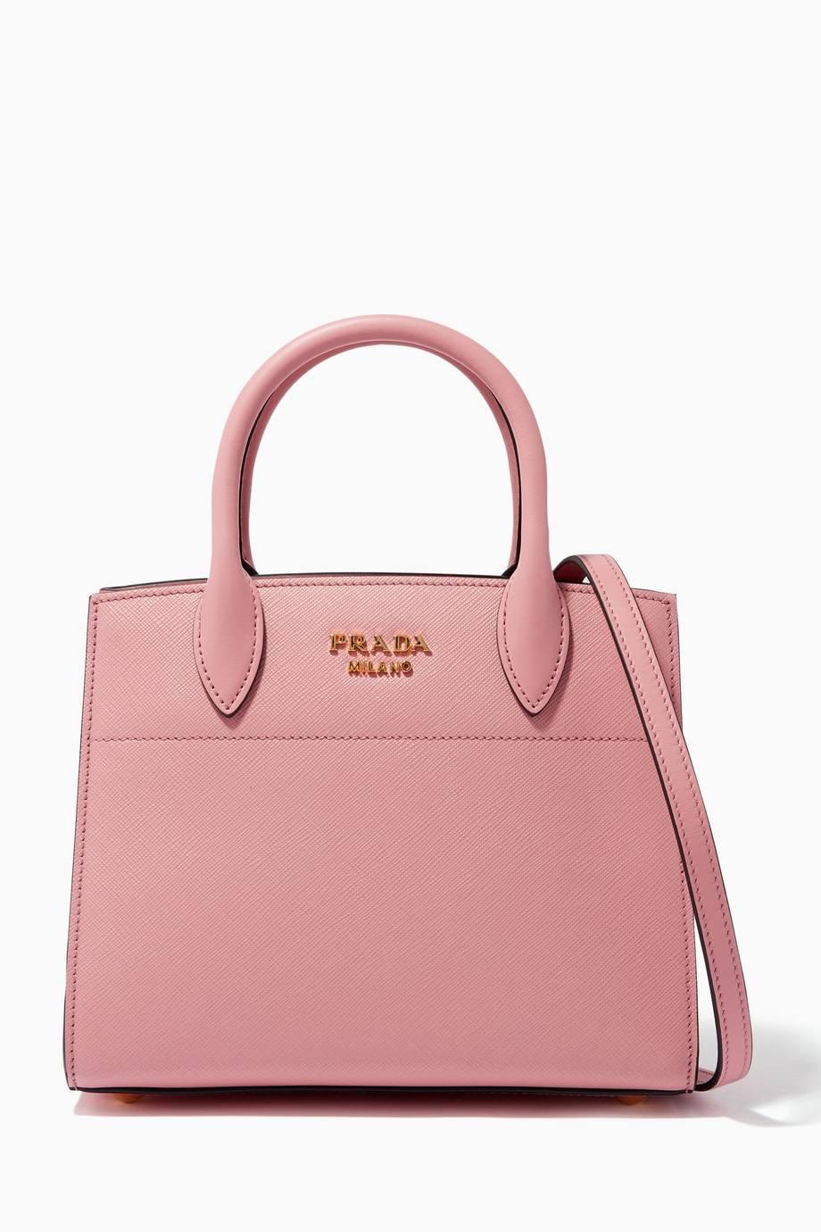 Shop Luxury Prada Pink Small Bibliothèque Saffiano City Tote Bag ... 219dc18fc6