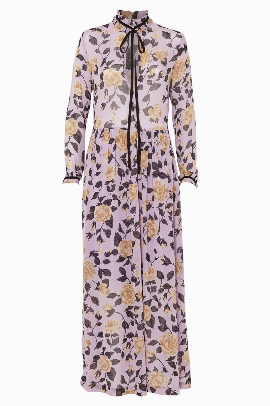 10a0fc8b9dc Shop Luxury Ganni Floral Printed Carlton Georgette Dress