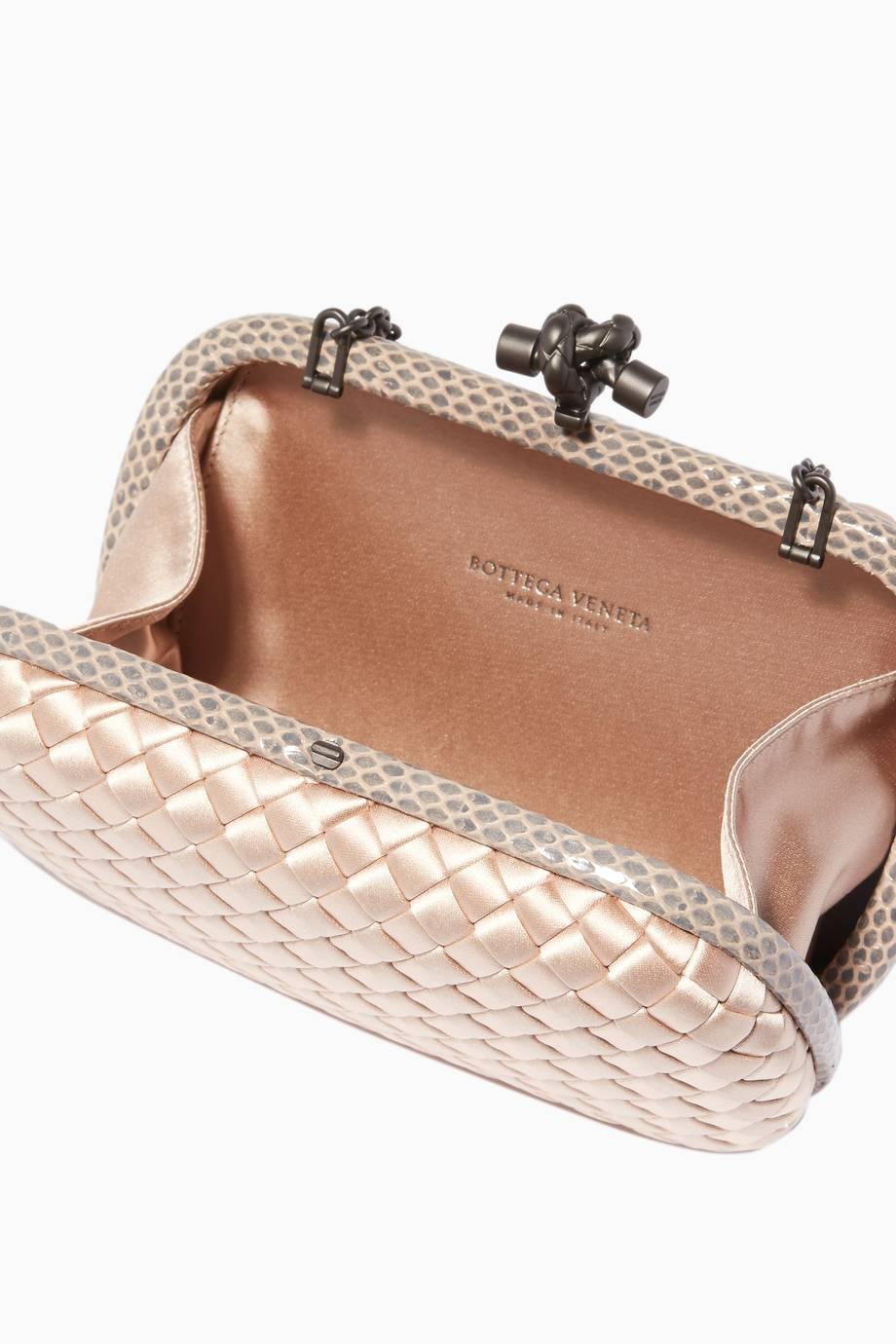 Shop Luxury Bottega Veneta Black Ayers Satin Chain Knot Clutch ... b86b3869d4503