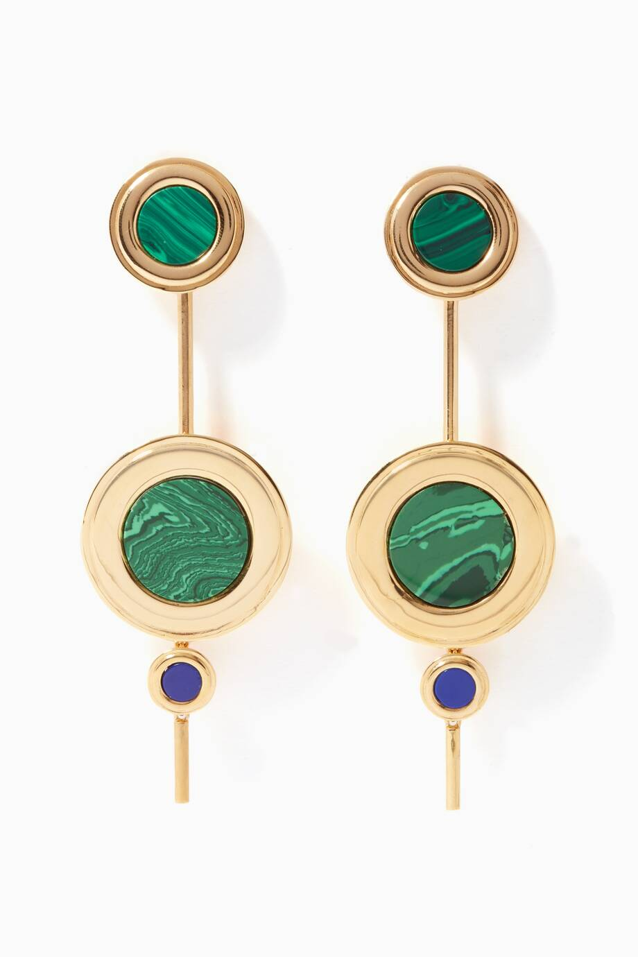 Joanna Laura Constantine Tribal Statement Earrings in Gold-Plated Brass with Lapis Lazuli and Malachite