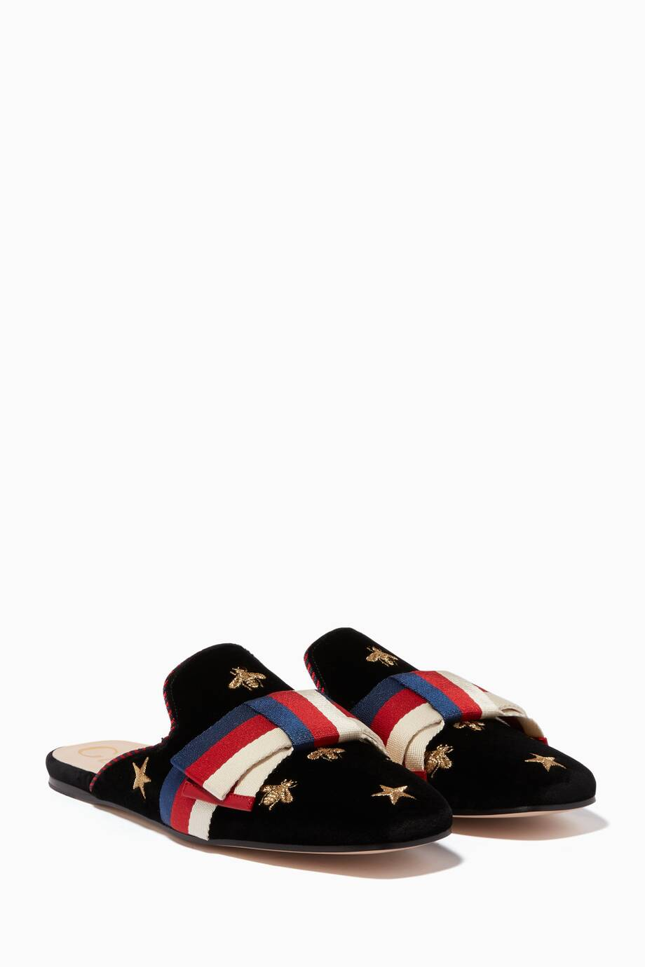 364cd9a68 Shop Luxury Gucci Black Embroidered Velvet Sylvie Bow Loafers ...