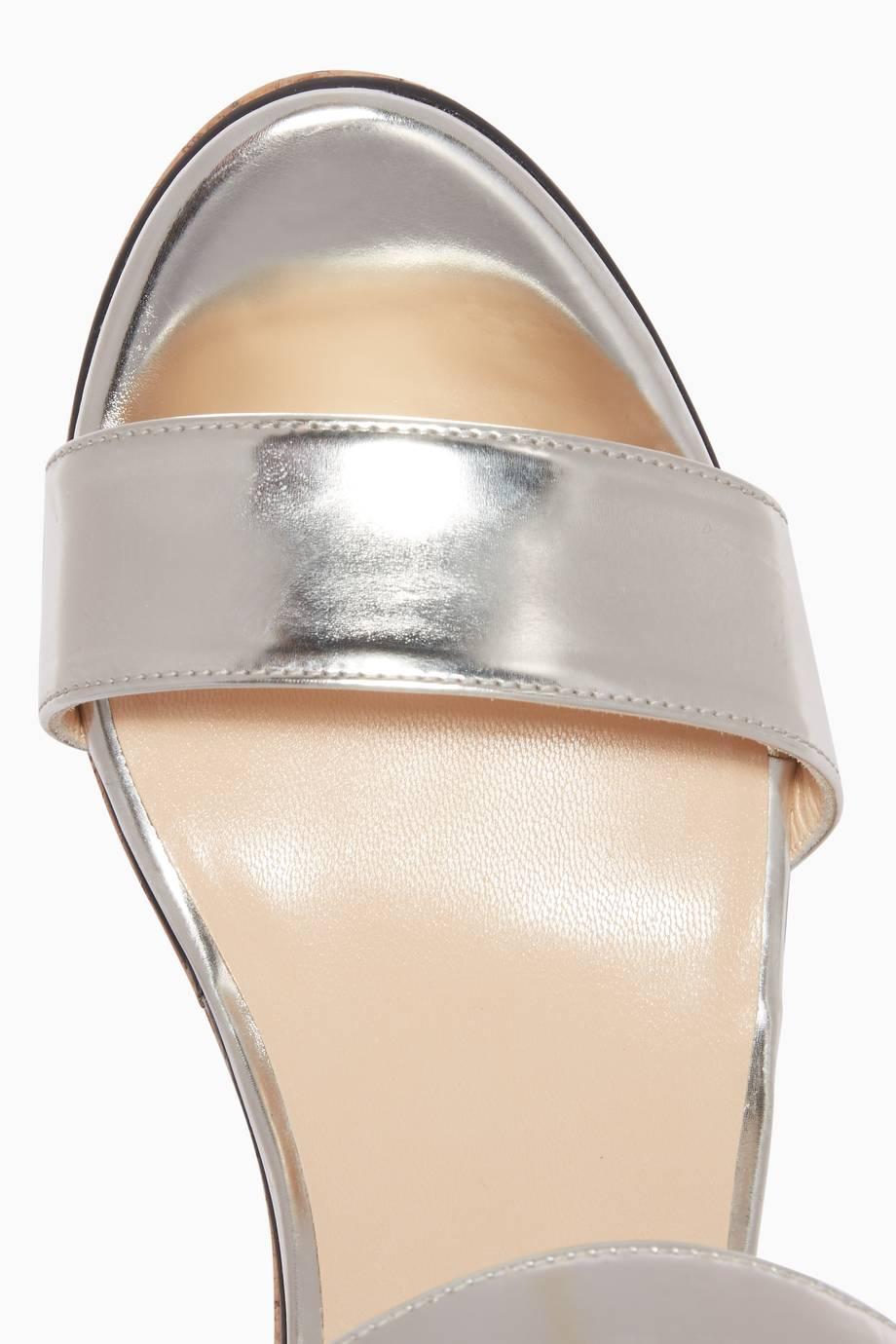 a42dbc3a3310 Shop Luxury Jimmy Choo Silver Nylah Crystal-Brooch Wedges