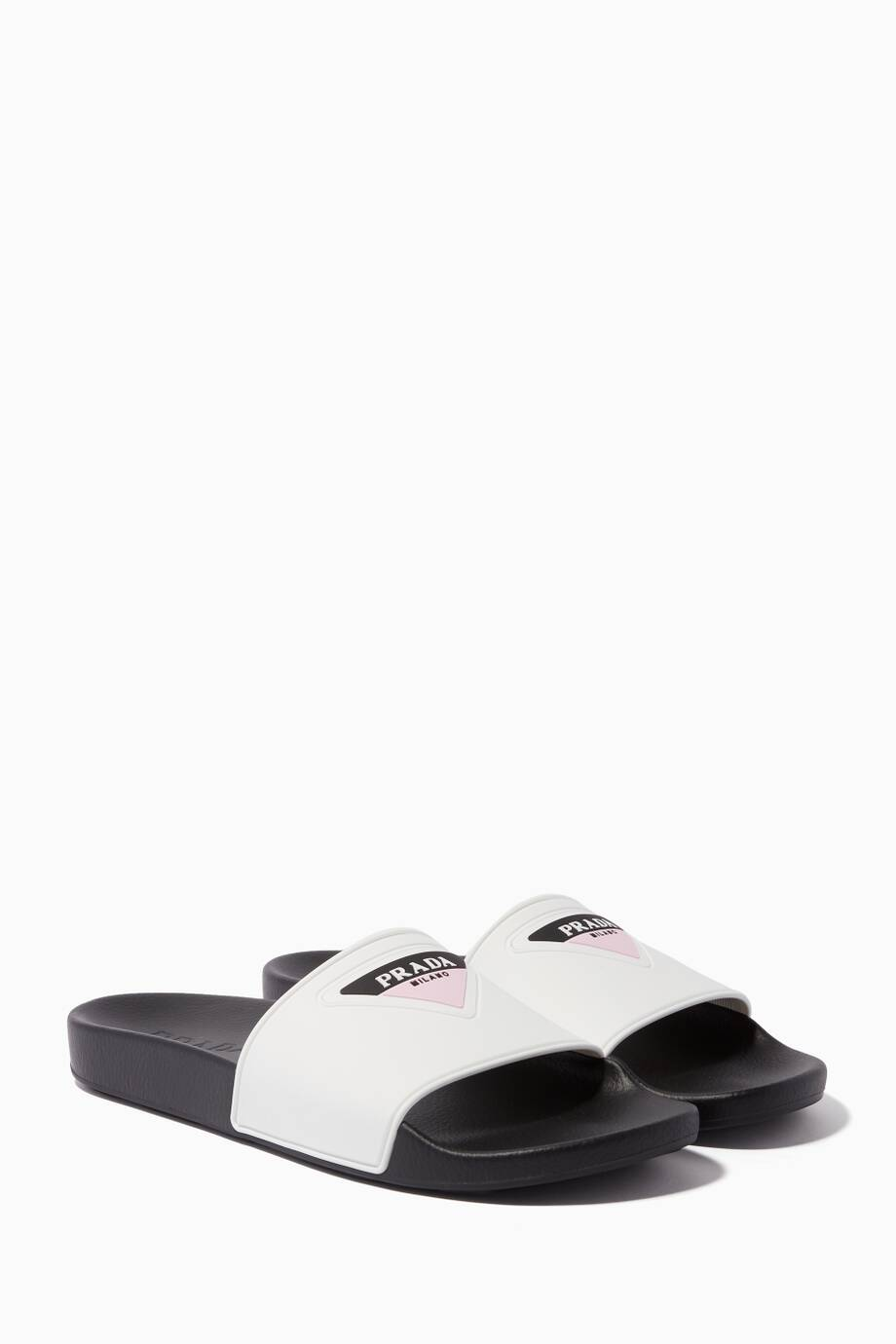 f526e035f79 Shop Luxury Prada White Logo Pool Slides