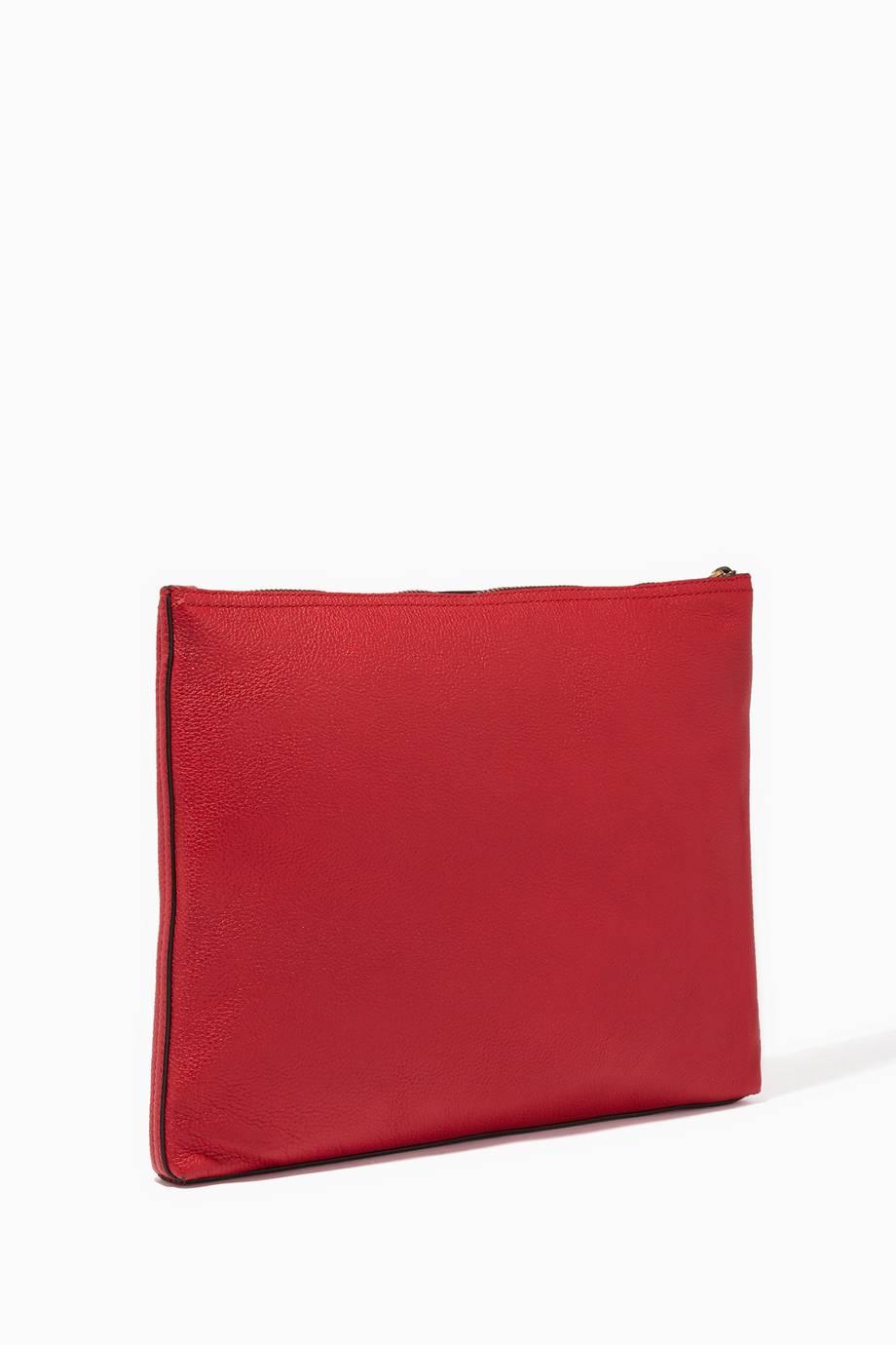 Shop Luxury Gucci Red Leather Medium Printed Portfolio clutch ... 8fb68d0f37c02