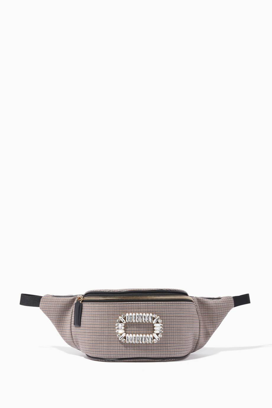 Shop Luxury Roger Vivier Grey Houndstooth Belty Viv Belt Bag ... 174dd41f55dd1