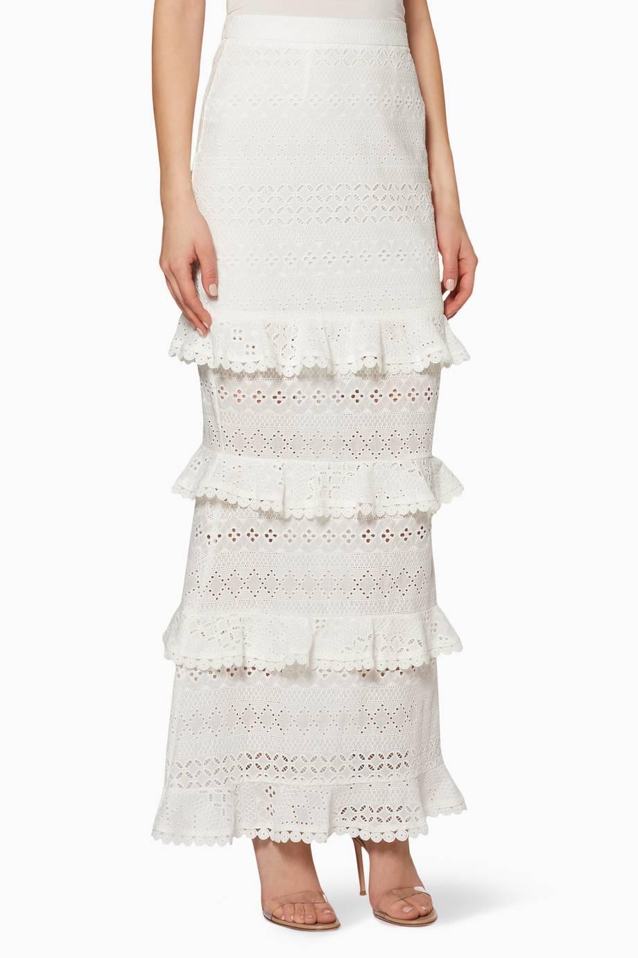 260abb55c26b8 تسوق White Ruffle-Trimmed Dupre Skirt من ازولو