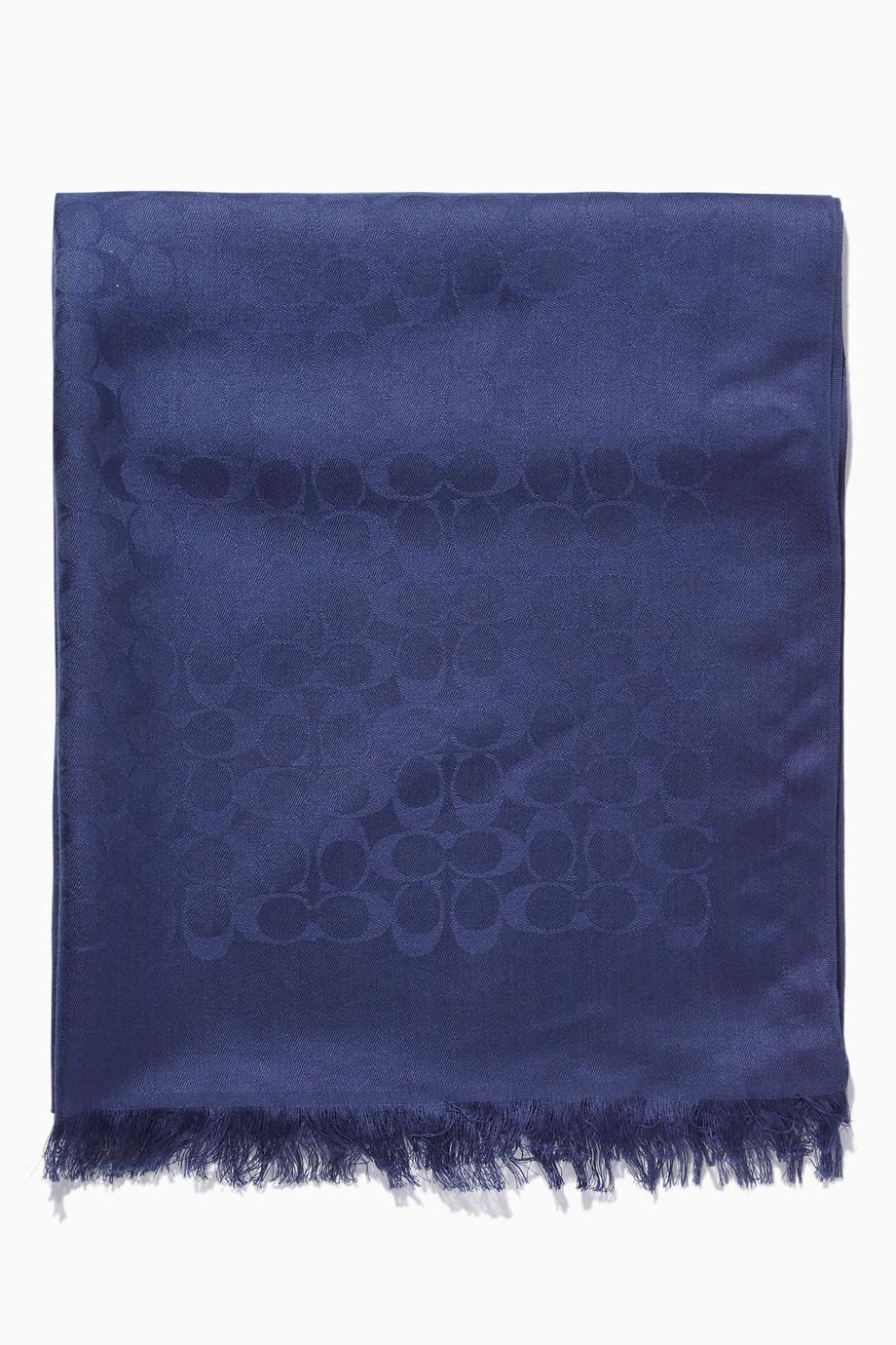 81d7391c1a6e Shop Coach Blue Cadet-Blue Jacquard Signature C Stole for Women ...