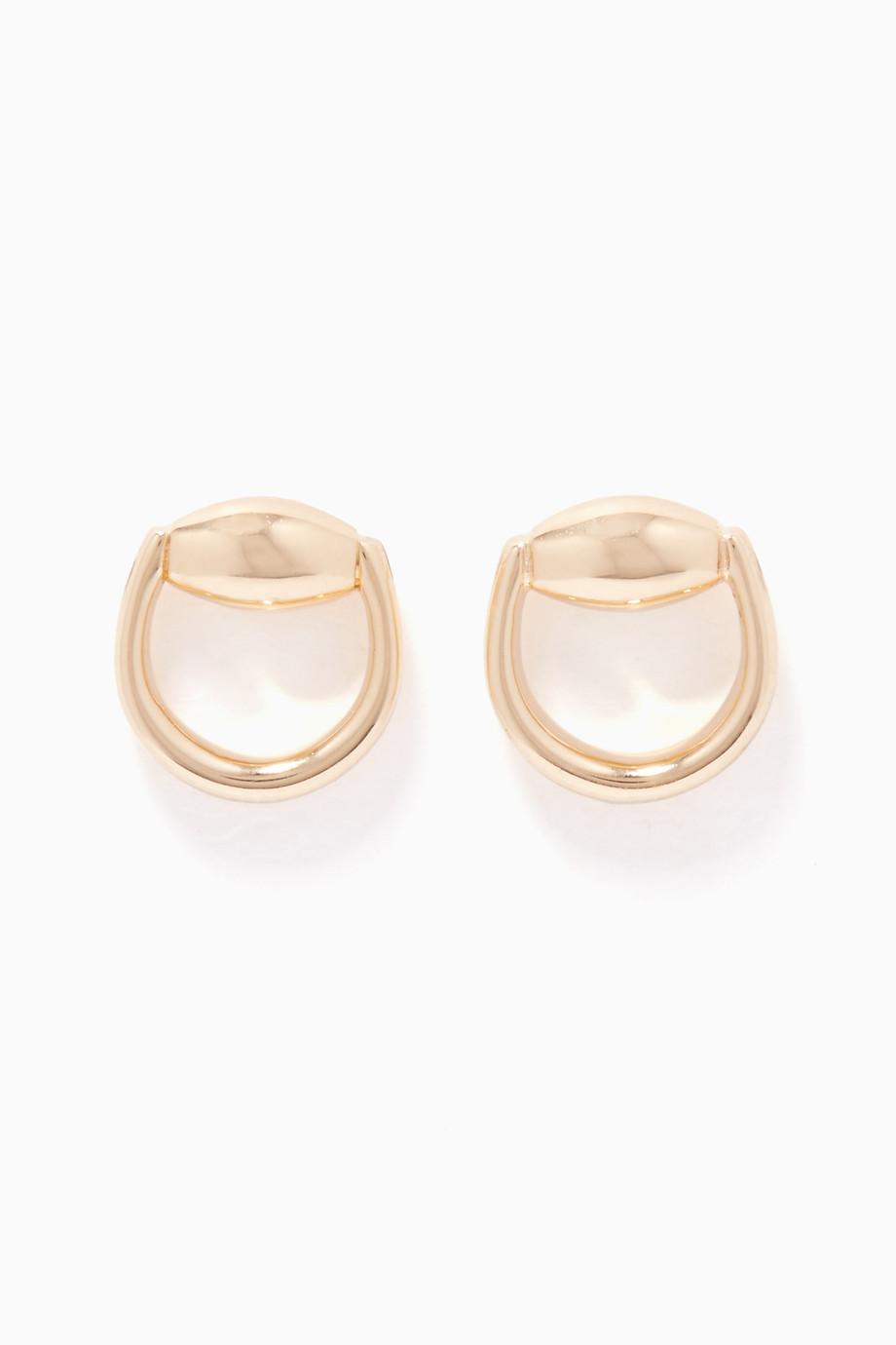 cf8deb462 Shop Gucci Yellow Yellow-Gold Horsebit Stud Earrings for Women ...