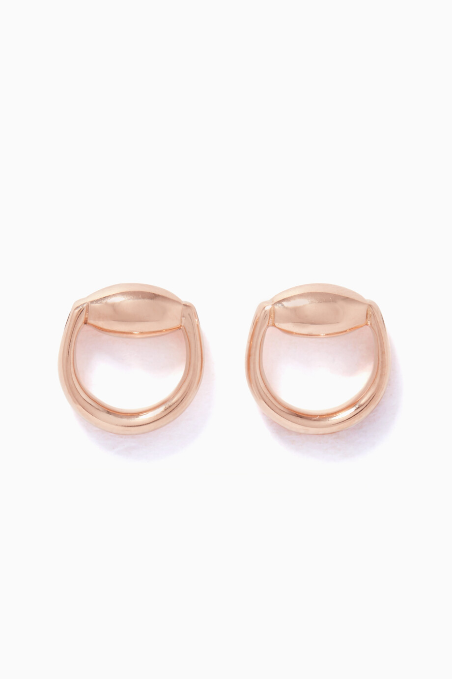 7d0d2b57e Shop Gucci Rose Gold Rose-Gold Horsebit Stud Earrings for Women ...