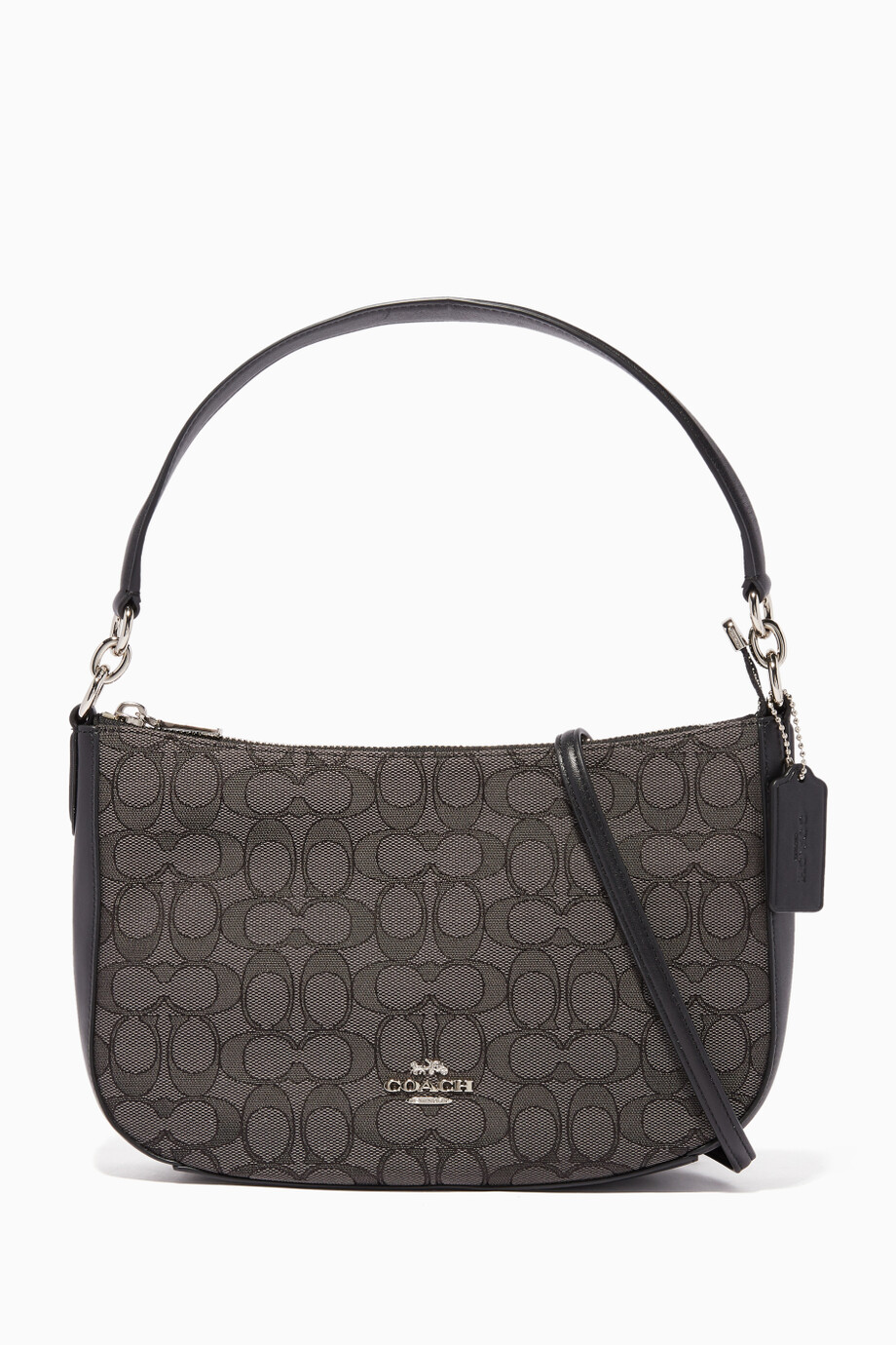 ef56b025 Shop Coach Black Black-Smoke Jacquard Chelsea Shoulder Bag ...